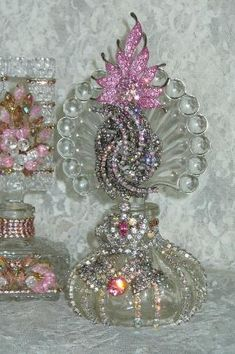 Antique Bejeweled Perfume Bottle 16 By Debbie Del Rosario-Antique, Perfume, Weiss by cristina
