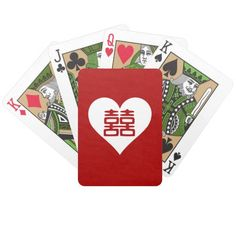 Double Happiness • Heart • Bold Red Bicycle Poker Cards