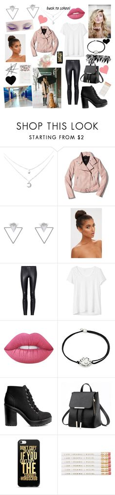 """""""Rainy day on school day☔ Read D! 💎"""" by eliskiku ❤ liked on Polyvore featuring Mackage, Eloquii, STOULS, Gap, Lime Crime, Alex and Ani, H&M and Brika"""
