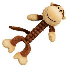 Kong Safari BraidZ Monkey - Changuito Trenzado de Kong  Los Juguetes KONG BraidZ son suaves al tacto pero hechos de un material muy resistente que esta tensamente trenzado para hacerlo más resistente para poder jugar tira-tira. El trenzado ayuda a que sea resistente pero también un poco elástico que además ayuda a limpiar los dientes mientras juegan y un sonido squeaker que ayuda a incrementar la emoción de tu perro por capturar a su presa.