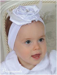 (EM-17a) Wunderschönes Stirnband in WEISS mit FEDERN - Princessmoda - Alles für Taufe Kommunion und festliche Anlässe