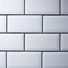 of Metro white Beveled Ceramic wall Tiles 10 x - 50 Tiles Metro Tiles Bathroom, White Subway Tile Bathroom, Beveled Subway Tile, White Wall Tiles, Kitchen Backsplash, Design Bathroom, Backsplash Ideas, Cream Shaker Kitchen, Kitchen White