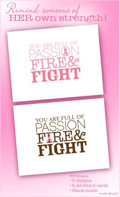 Not only is this good for breast cancer awareness, and for sending a note of support to someone, but the design is great. I love this mix of fonts...
