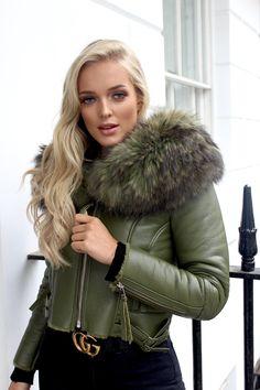 - Raccoon Fur Collar - Lamb Leather - Silver Zip Detail on Arms - Model Wearing UK 8 - Sheep Skin Lining - True to Size Fur Fashion, Leather Fashion, Fashion Outfits, Khaki Leather Jacket, Coats For Women, Jackets For Women, Fur Collars, Girl Pictures, Mantel