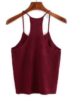 Online shopping for Spaghetti Strap Knit Tank Top BURGUNDY from a great selection of women's fashion clothing & more at MakeMeChic.COM.