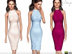 Lace Overlay Dress by ekinege (The Sims 3) High-neck lace overlay midi dress. Custom mesh. http://www.thesimsresource.com/downloads/1393452