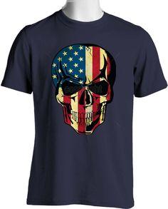 Motorcycle Biker Black Tee Shirt Rider American Flag Stars and Stripes Unisex Tee