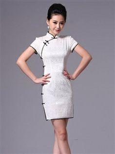 b4d3d182ba9 Purple Black Mini Classic Cheongsams Dresses