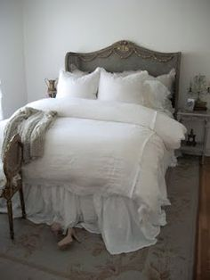 Full Bloom Cottage: Getting Ready for our show. Dream Bedroom, Master Bedroom, Bedroom Decor, Bedroom Ideas, Master Bath, Coverlet Bedding, Room Of One's Own, European Furniture, Awesome Bedrooms