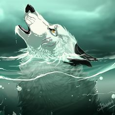 sinking by ChetMakacet on deviantART Wolf Pictures, Pictures To Draw, Fantasy Wolf, Fantasy Art, Cute Drawings, Animal Drawings, Anime Wolf Zeichnung, Anime Wolf Drawing, Cartoon Wolf