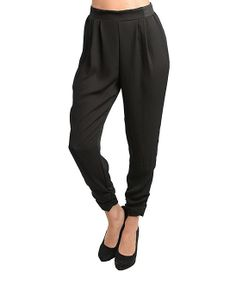 Black Ruched Cuff Pants