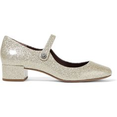 Marc JacobsLexi Glittered Patent-leather Mary Jane Pumps (475 SGD) ❤ liked on Polyvore featuring shoes, pumps, silver, patent mary jane pumps, patent leather pumps, maryjane pumps, glitter mary janes and patent pumps