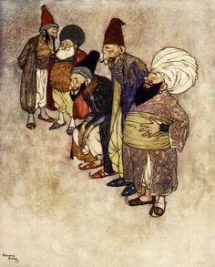 """At so arrogant a claim all the courtiers burst into loud laughter (from 'The Magic Horse'). """"Stories from the Arabian Nights"""" (1907) illustrated by Edmund Dulac"""