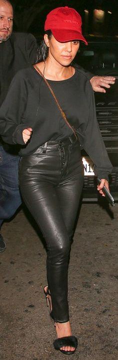 Kourtney Kardashian: Shoes – Monique Lhuillier  Hat – Yeezus  Purse – Chloe  Pants – Unravel  Shirt – ATM Anthony Thomas Melillo