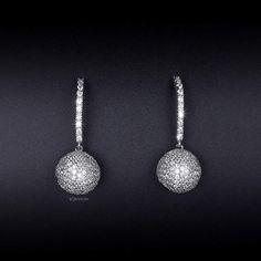 Dangle Ball Earrings - Cubic Zirconia - Micro Pave Earrings - Long Earrings - Bar Earrings - Statement Earrings - CZ Earrings - AE0249 by AmodeJewelry on Etsy