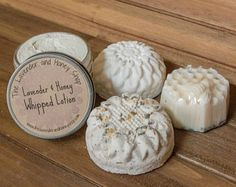 Lavender and Honey Gift Set. Includes lavender and honey goat milk soap, lavender oat and honey bath bomb, lavender and vanilla shower steamer and lavender and honey whipped lotion. Can be customized for bridesmaids, birthdays, etc.