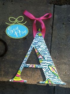 Nautical A in Lilly Pulitzer print