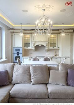 Диван и кухонная зона в гостиной http://www.ok-interiordesign.ru/dizayn-kvartiry-na-voykovskoy-foto.php