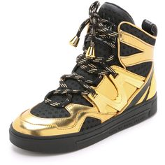 Marc by Marc Jacobs Ninja High Top Sneakers ($285) ❤ liked on Polyvore featuring shoes, sneakers, metallic sneakers, laced shoes, metallic high tops, high top shoes and hi tops