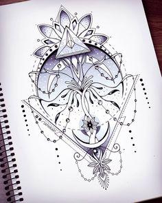 Geometric symmetry tattoo by Saphiriart on Instagram https://www.instagram.com/saphiriart/