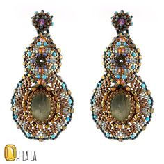 Labradorite, Turquoise and Gold Fill, Statement Swarovski Crystal Earrings Beaded by Esther Marker