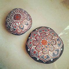 ...just finished these two... #mandala #mandalastones #paintedstones #paintedrocks #paintedpebbles #stoneart #rockart #beautiful_stones #mandalala