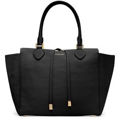 Large Miranda Pebbled Tote - Michael Kors ($1,195) ❤ liked on Polyvore featuring bags, handbags, tote bags, purses, bolsas, sacs, michael kors tote, michael kors, black zip tote and michael kors handbags