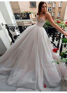 white wedding dress strapless wedding dress tulle ball gown wedding dress – shuiruyan