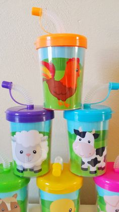 Farm Animals Do It Yourself Party Favor Cups, DIY Birthday Treat Cups, Cow, Horse, Duck, Sheep, Bird, Pig Barn Rooster Set of 6