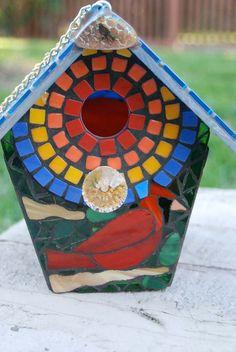 Bird House Stained Glass Mosaic Cardinal by NatureUnderGlass, $85.00