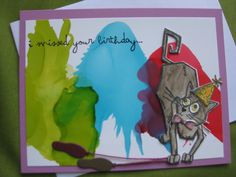 Handmade Birthday Card with Crazy Cat - I missed your Birthday by SmARTyCards on Etsy