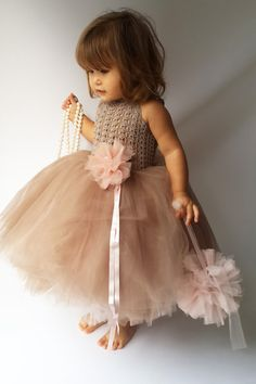 Pink and Brown Puffy Baby Girl Tutu Dress. Baby Flower Girl Tulle Dress with Lace Stretch Crochet Bodice.