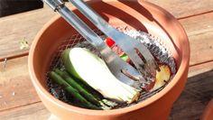 Clay Pot Grill, terra cotta planters, clay pots, food, camping