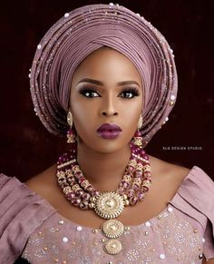 Fashion and Styles - Beautiful And Perfect Looking Gele And Make Over Styles - O. African Wedding Attire, African Attire, African Fashion Dresses, African Lace, African Women, African Dress, African Traditional Wedding, African Head Wraps, Wedding Hats
