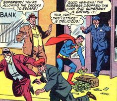 """""""The robbers dropped the cash and Superboy is eating it!"""" Superboy #91 (September 1961)"""