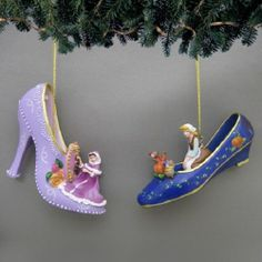 Disney's Once Upon a Slipper Ornaments - Cinderella and Belle Shoe Figures set 6