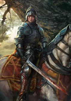 Art featuring medieval knights and their fantasy/sci-fi counterparts. High Fantasy, Fantasy Women, Fantasy Rpg, Medieval Fantasy, Fantasy Artwork, Fantasy Books, Fantasy Warrior, Fantasy Battle, Fantasy Inspiration