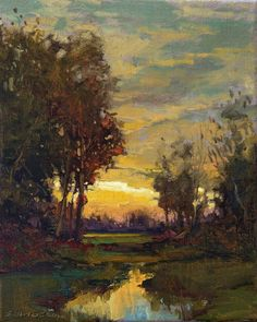 """Tonalist Impressionist Art - Matted Giclee Fine Art Print """"Brillig"""" Sunset by Jan Schmuckal Watercolor Trees, Watercolor Paper, Abstract Landscape, Landscape Paintings, Urban Landscape, Acrylic Paintings, Art Mat, Impressionist Art, Plein Air"""