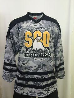9190792ac Custom Soo Eagles Sublimated Digi-Camo Hockey Jersey. Made in the USA at K1