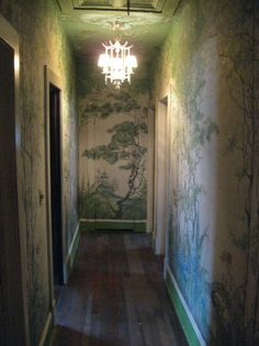 Beautiful Green Chinoiserie Wallpaper on walls & ceiling in hallway + Antique Chinoiserie Pendant Hand Painted Walls, Chinoiserie Chic, Chinoiserie Wallpaper, Mural Painting, Painting Trees, Wall Treatments, My New Room, Wall Wallpaper, Wall Murals