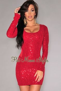 Red Allover Mini Sequins Mesh Back Dress Club Dresses, Sexy Dresses, Casual Dresses, Club Outfits, Hot Dress, Dress Up, Claudia Sampedro, Formal Cocktail Dress, Clubwear Dresses