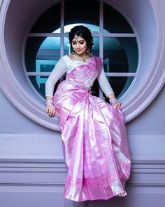 Latest Bridal Saree Designs are Pastel Shades of Kanjeevaram Bridal saree collection. Peach shade sarees, Lilac bridal sarees, Purple kanchipuram sarees, Turquoise Sarees, Mint shade saree designs and many more collection in handloom sarees Indian Bridal Sarees, Bridal Silk Saree, Indian Silk Sarees, Indian Beauty Saree, Saree Wedding, Tamil Wedding, Wedding Dress, Wedding Saree Blouse Designs, Half Saree Designs