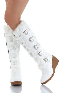 Enhance towards White boots for women glamorous look Knee High Wedge Boots, Low Heel Boots, Knee Boots, High Heels, Ugg Style Boots, Casual Boots, Ugg Boots, Nylons, Furry Boots
