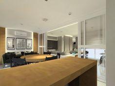 Varanda Gourmet. Neste projeto integramos a sala de estar, sala de TV e a cozinha. Para dar uma identidade única aos ambientes usamos a cor preta e a madeira peroba em todos os espaços.