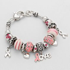 Beautiful Bead charm bracelet for Breast Cancer Awareness.  Only $14.50 Enter code HOPE at checkout for 10% off