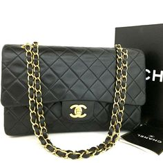 f50e8e9696c8 CHANEL Double Flap 25 Quilted CC Logo Lambskin w/Chain Shoulder Bag Black /ee306