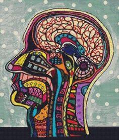 Modern Cross Stitch Kit Human Head Anatomical Art By por GeckoRouge, $74.00