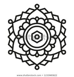 Simple Mandala Shape for Coloring. Vector Mandala. Floral. Flower. Oriental. Book Page. Outline. Simple Mandala, Mandala Design, Pattern Design, Oriental, Royalty Free Stock Photos, Graphic Design, Shapes, Illustration, Floral