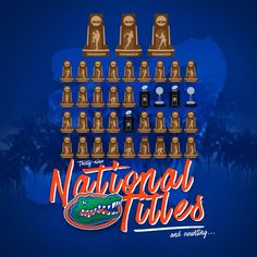 39 national championship trophies! Fla Gators, Florida Gators Football, Football Rooms, College Football, Tim Tebow, Olympic Sports, University Of Florida, National Championship, Bait