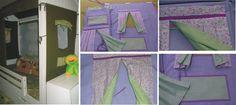Casinha para cama baixa com sarja lilás com cortinas em tricoline florido na parte externa e verde poá no lado interno e bolso no verde poá com viés lilás. Conjunto de 3 janelas. Decorative fabric house with 3 windows.